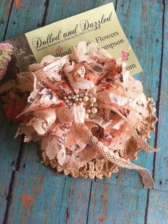 Cream Peach/ Dress Sash Flower/ Rustic Country by DolledandDazzled