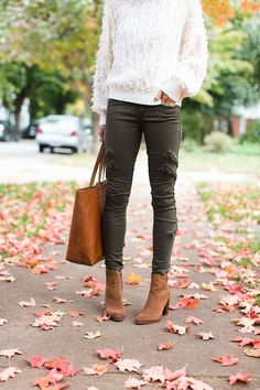 ankle boots, olive pants, sweater, tote