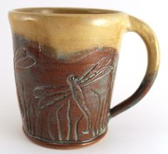 dc38b931ae6 Stoneware Pottery Large Mug Wheel Thrown Hand Carved Dragonflies Dragonfly  OOAK Coffee Beer Hot Cocoa 18 oz.