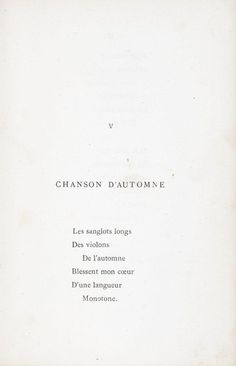 """""""Chanson d'automne"""", Poèmes saturniens, par Paul Verlaine."""