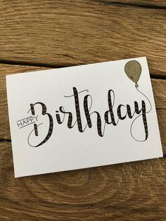 Happy Birthday Cards Handmade, Creative Birthday Cards, Birthday Cards For Friends, Bday Cards, Watercolor Birthday Cards, Birthday Card Drawing, Happy Birthday Hand Lettering, Calligraphy Cards, Karten Diy