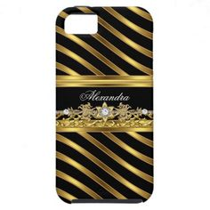 iPhone 5 Case Elegant Elite Stripe Gold Jewel Look