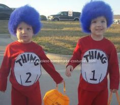 Homemade Thing 1 and Thing 2 Costume: I wanted to think of something fun for my boys so I came to this site for inspiration...