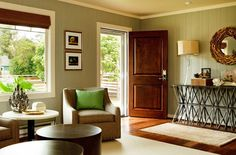 red brick and rustic wood trim rancher- with a modern interior