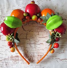 Multi Color Fruits Headband Carmen Miranda style by olgadesigns Tropical Party, Tropical Fruits, Fruit Costumes, Halloween Costumes, Carmen Miranda Costume, Havana Nights Party, Cuban Party, Fruit Party, Thinking Day