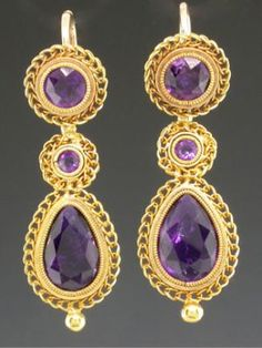 Antique 18K earrings with amethysts.