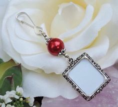 A lovely way to be remembered! Wedding bouquet photo charm dark red pearl. by SmilingBlueDog