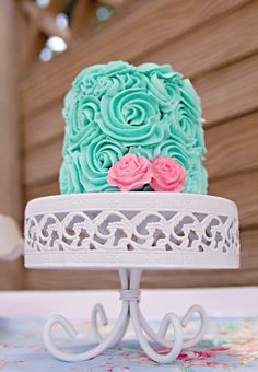 Teal rose cake at a Vintage Pony Party #vintagepony #partycake