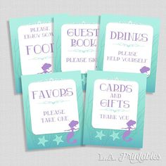 Mermaid Shower Signs Package Aqua and Purple Shower Table
