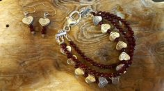Garnets and silver heart bracelet and earrings