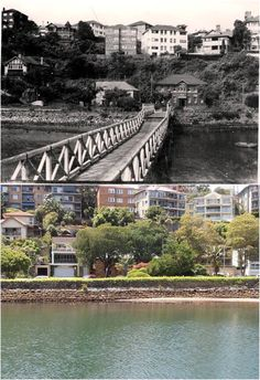 Mosman Bay footbridge in the 1950's and the same view in 2015. [1950's - City of Sydney Archives>2015 - Kevin Sundgren. By Kevin Sundgren]