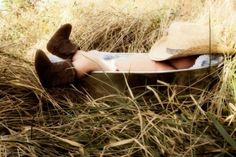 FARM HAND: Baby cowboy has obviously had a hard day on the ranch. I guess this cowpoke couldn't wait to get back to the bunk for a nap . (Or show his baby cowboy face, for that matter. Boy Photography, Children Photography, Photomontage, Cute Photos, Cute Pictures, Cute Kids, Cute Babies, Foto Baby, Newborn Pictures
