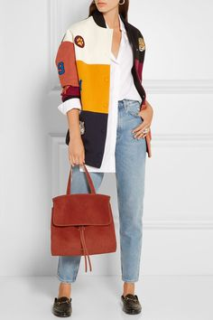 Mansur Gavriel - Lady Leather-trimmed Suede Tote - Brick - one size