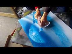 Spray Paint Art - guy creating an outer space scene on streets of Montreal - YouTube