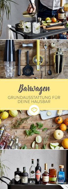 Die Grundausstattung für deine Hausbar oder Barwagen Which basic equipment does your home bar or bar car really need? Which spirits and equipment is indispensable? Cocktails, Cocktail Drinks, Party Treats, Party Snacks, Silvester Party, Diy Bar, Wine Drinks, Recipe Of The Day, Bars For Home