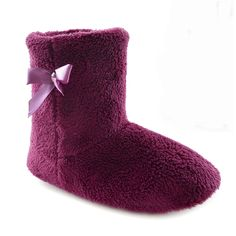 Womens/Ladies Coral Fleece Slipper Boots With Jewel And Ribbon Detail * Unbelievable product right here! at Women's Shoes board