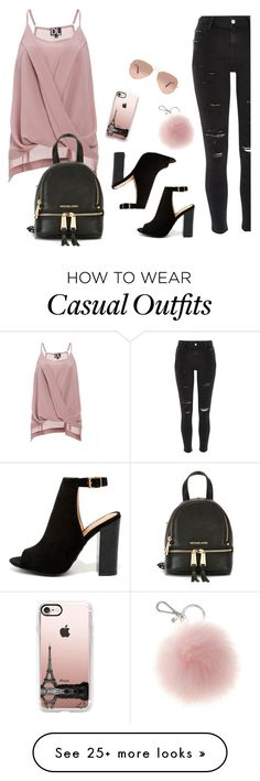 """Casual"" by ashleydawn2 on Polyvore featuring DailyLook, River Island, Bamboo, Casetify, Ray-Ban and MICHAEL Michael Kors"