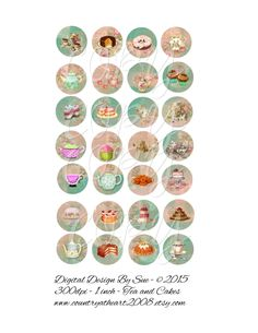 Tea and Cakes  - 1 inch circles  -  Printable Digital Collage Sheet - Digital Download - pinned by pin4etsy.com