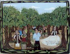 ΤΑ ΕΡΓΑ ΤΗΣ  ΣΟΦΙΑΣ  ΒΛΑΧΟY: «ΣΤΟΝ  ΕΛΑΙΩΝΑ» Autumn Crafts, Olive Tree, People Of The World, Greece, Traditional, Disney Princess, Disney Characters, Blog, Art