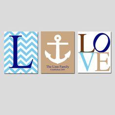 Family Love  Set of Three 8x10 Nautical Prints  Chevron by Tessyla, $55.00