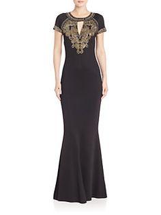 St. John - Embellished Keyhole Gown