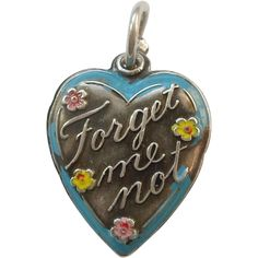 """Sterling Silver Puffy Heart Charm – 'Forget Me Not' in Cold-painted Enamel, """"CLD"""" Jewelry Clasps, Charm Jewelry, Jewlery, Modern Jewelry, Fine Jewelry, Antique Jewelry, Vintage Jewelry, Vintage Lockets, Vintage Charm Bracelet"""