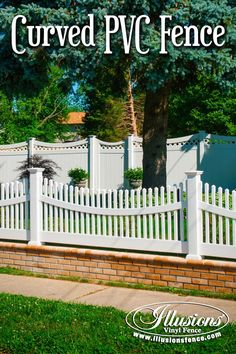 New Fence Ideas. White Vinyl Fencing Panels With Curves Are Available From Illusions Vinyl Fence. The Best Fence Brand In The Industry. #fenceideas #vinylfence