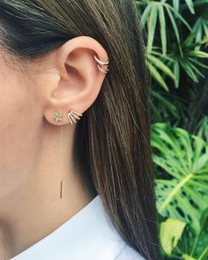 From our Stone & Strand Instagram Designer Takeover! -- One of my favorite streets in LA is Melrose Place. Here's a shot of today's ear in front of the beautiful @isabelmarant garden...I've been living in the new EF Collection multi huggie earring and today I paired it with our new shooting star threader and cartilage ear cuffs (no piercing required!) Xo, EF