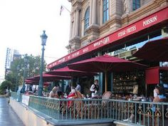 The balcony at Mon Ami Gabi - Escargots de bourgogne and grilled salmon and spinach salad...delish!