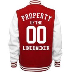 "Property of the Linebacker | football girlfriend! Show your love and support for your football boyfriend with a cute custom letterman jacket. Add your boyfriends football number to the back of this jacket. ""Property of the linebacker!"""