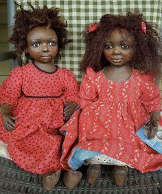 Rebecca Kerin Folk Art Dolls ~ Opal & Naomi