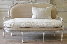 vintage French Settee in Burlap  from Full Bloom Cottage