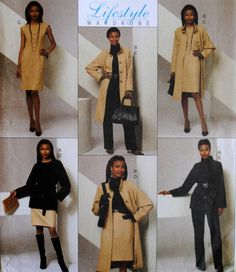 Uncut Misses Loose Fit Lined Raglan Sleeve Stand Up Collar Jacket Lined Fitted Dress Skirt & Pants Plus Size 14 16 18 20 Sewing Pattern Easy