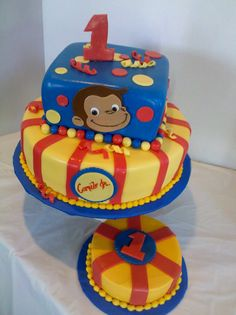 Fun party ideas from George the Curious - George - first birthday cake-Erster Geburtstagskuchen Curious George Cupcakes, Curious George Party, Curious George Birthday, Birthday Cake Pictures, 1st Birthday Cakes, Birthday Cake Toppers, Birthday Ideas, Birthday Parties, Twin Birthday