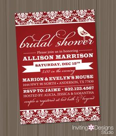 Holiday Bridal Shower, Bridal Shower Invitation, Red, White, Christmas, Bird, Customize Your Colors, PRINTABLE FILE