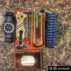 Customer Photo By: #Repost @benderj85  Today's Carry #legendarywhitetails @deergear @bulova watch with @strapsco #natostrap @spyderco_inc #yojimbo2 with #mmans0311esw #sketchenscales ivory juma with black and white g10 stripe @thinktwicecutonce #sebenza21 in a @manbeltleather #sebenzasleeve @knottydans #offroad #paracordbracelet @manbeltleather #minimalistwallet sitting on a @broncos #shankhank by @mmans0311  #knifecommunity #knifestagram #edcgear #edccommunity #customleather #leatherwork…