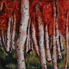 Birch Trees in Autumn by Alison Galvan  16 x 16 Mixed Media & Acrylics on a Wood Panel www.alisongalvanfineart.com