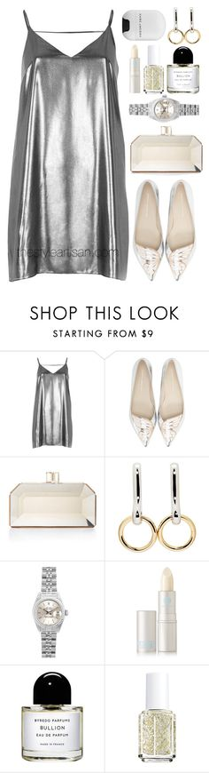 """""""River island"""" by thestyleartisan ❤ liked on Polyvore featuring River Island, Sophia Webster, Judith Leiber, Alexander Wang, Rolex, Lipstick Queen, Byredo, Essie, Marc Jacobs and metallicdress"""