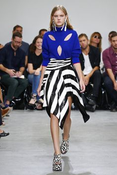 Proenza Schouler Spring Summer 2017 SS17 - Look 36: Blue opened jersey and pailleted stripped asimetric skirt #BoFW