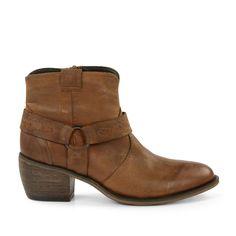 Korte western boots cognac kleur