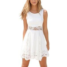 Summer Style White Dress Women Casual Solid Lace Strapless Sexy A-line Short