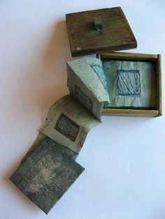 Wren Square Drawing and stitch are closely related in my work .Both are about the making of marks I use materials collected a. Paper Hand Craft, Paper Art, Paper Crafts, Concertina Book, Accordion Book, Square Drawing, Cas Holmes, Blue Books, Handmade Books