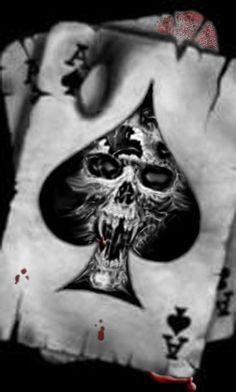 Skull Cards Tattoo by TragicAngel on DeviantArt Spooky Tattoos, Skull Tattoos, Sleeve Tattoos, Cool Tattoos, Skull Tattoo Design, Tattoo Designs, Skull Design, Ace Of Spades Tattoo, Piston Tattoo