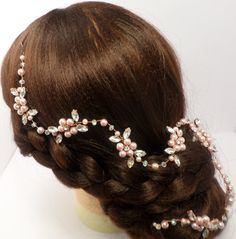 Wedding Hair Vine Rose Gold Hair Vine by MagicBluebellDesigns