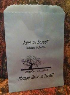 Autumn (Orange) Wedding Ideas & Inspiration:  Autumn / Orange Wedding Dessert Buffet Table Wedding Favor Bags with Autumn Tree design