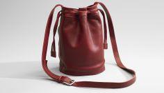 drawstring leather bag