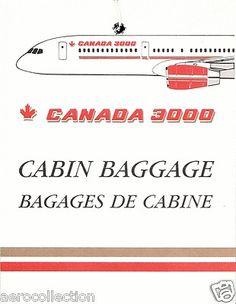 CANADA 3000 CABIN BAG TAG Tupolev Tu 144, Canadian Airlines, Cabin Bag, Bag Tag, Boeing 747, Concorde, Label, Canada, Tags