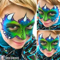 Simple face painting designs are not hard. Many people think that in order to have a great face painting creation, they have to use complex designs, rather then simple face painting designs. Dinosaur Face Painting, Monster Face Painting, Dragon Face Painting, Face Painting For Boys, Face Painting Tutorials, Face Painting Designs, Paint Designs, Face Painting Images, Dragon Makeup
