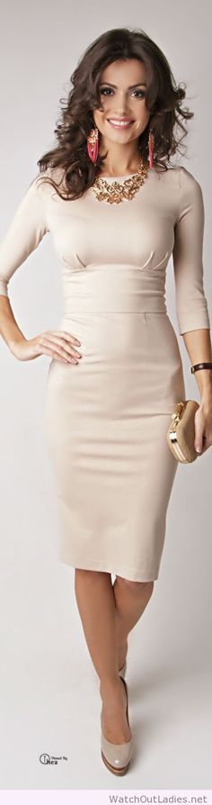 Gorgeous nude dress and accessories