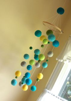 Needle Felted Gumball Mobile  Lagoon by jacksbeanstalk on Etsy, $60.00